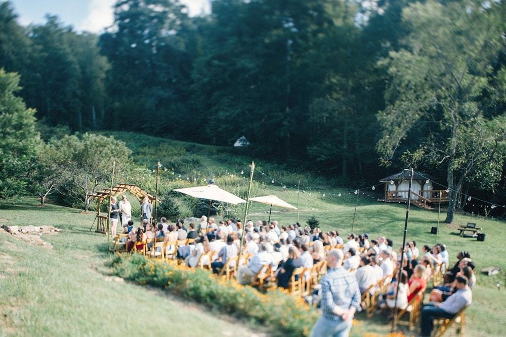 wide view of wedding ceremony at brahma ridge