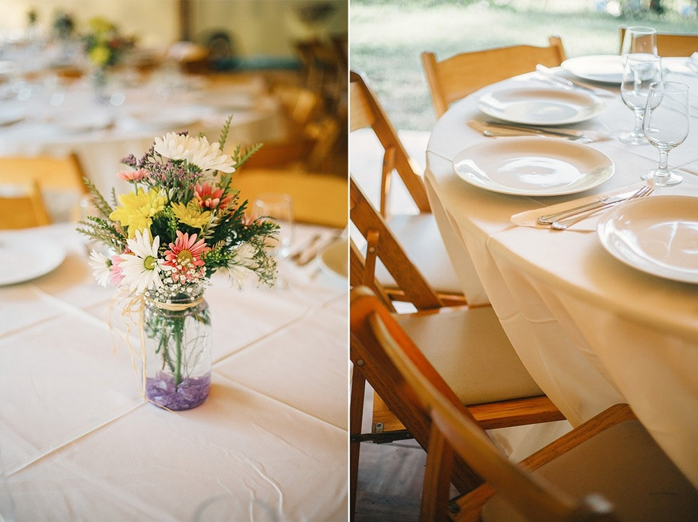 wedding table flowers and plates, reception decor