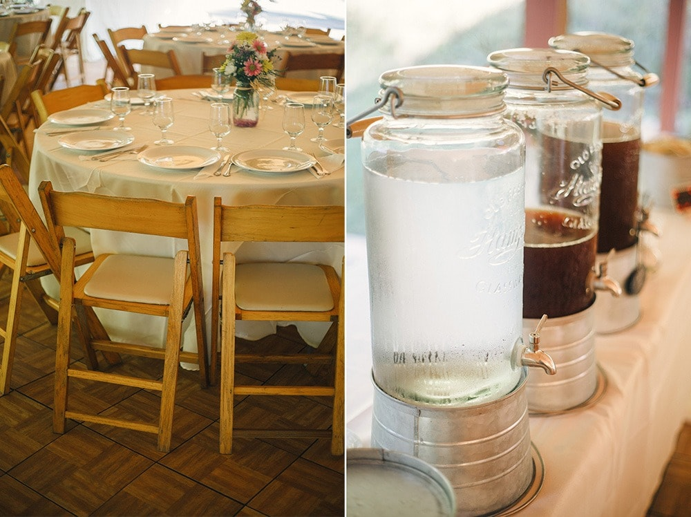 wedding tables and drinks