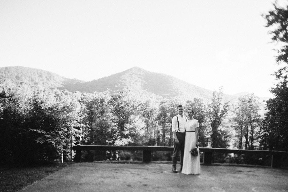 wedding couple near overlook
