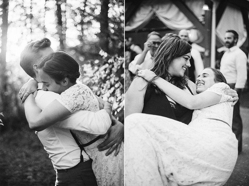 bride hugging groom and their sister
