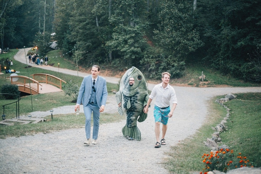 wedding guest in fish costume