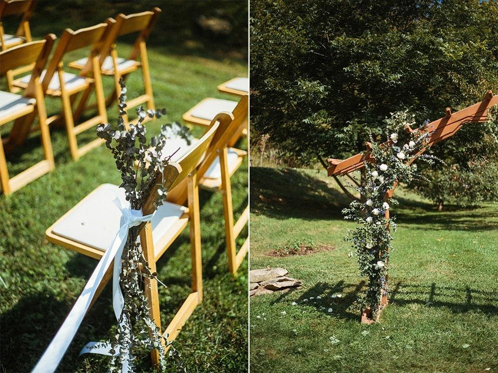 wedding ceremony flower accents at brahma ridge event center