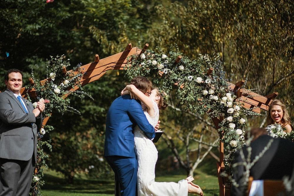 wedding ceremony kiss asheville wedding