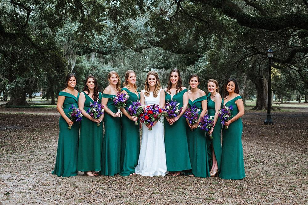 bride and bridesmaids audubon park