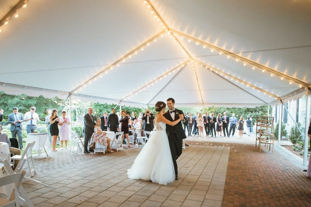 first dance in outdoor tent