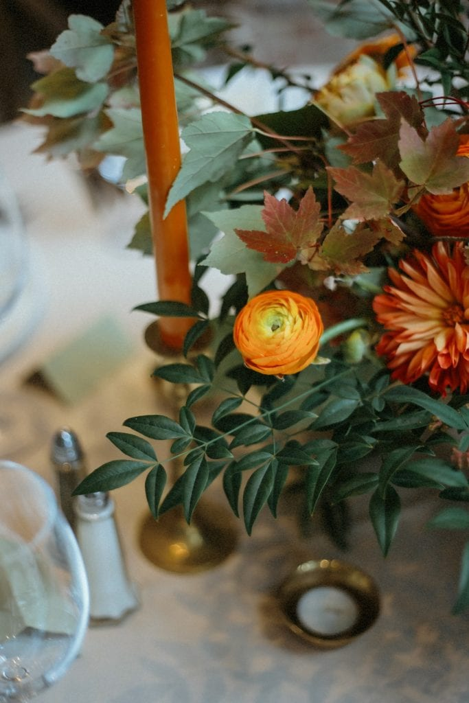 wedding table centerpiece orange flowers