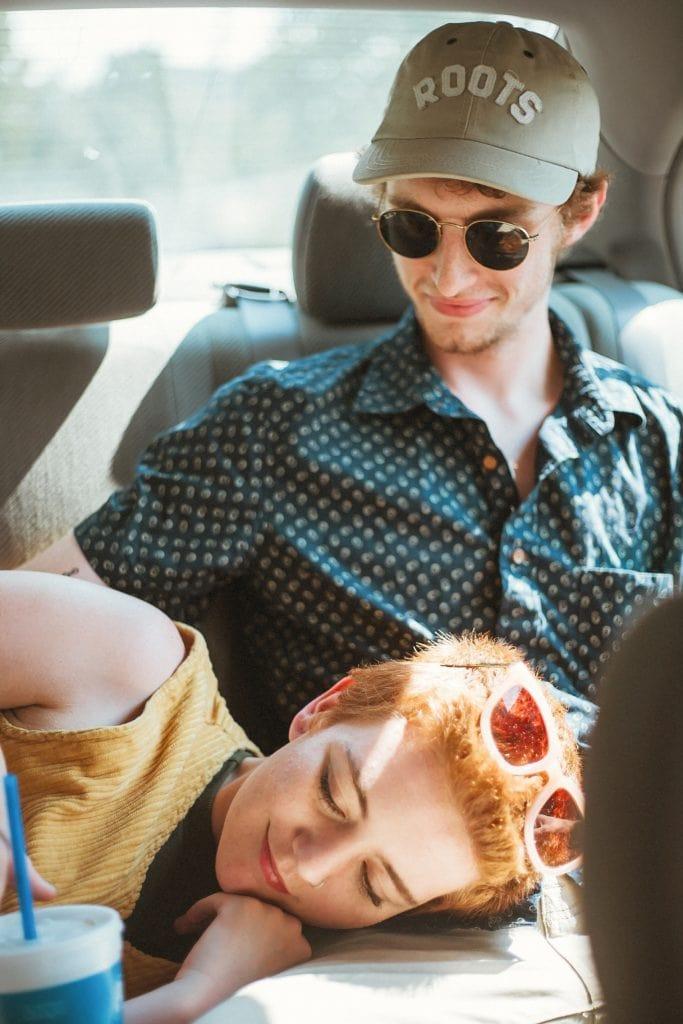 couple in love in car