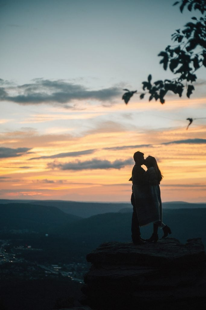 couple at sunset silhouette