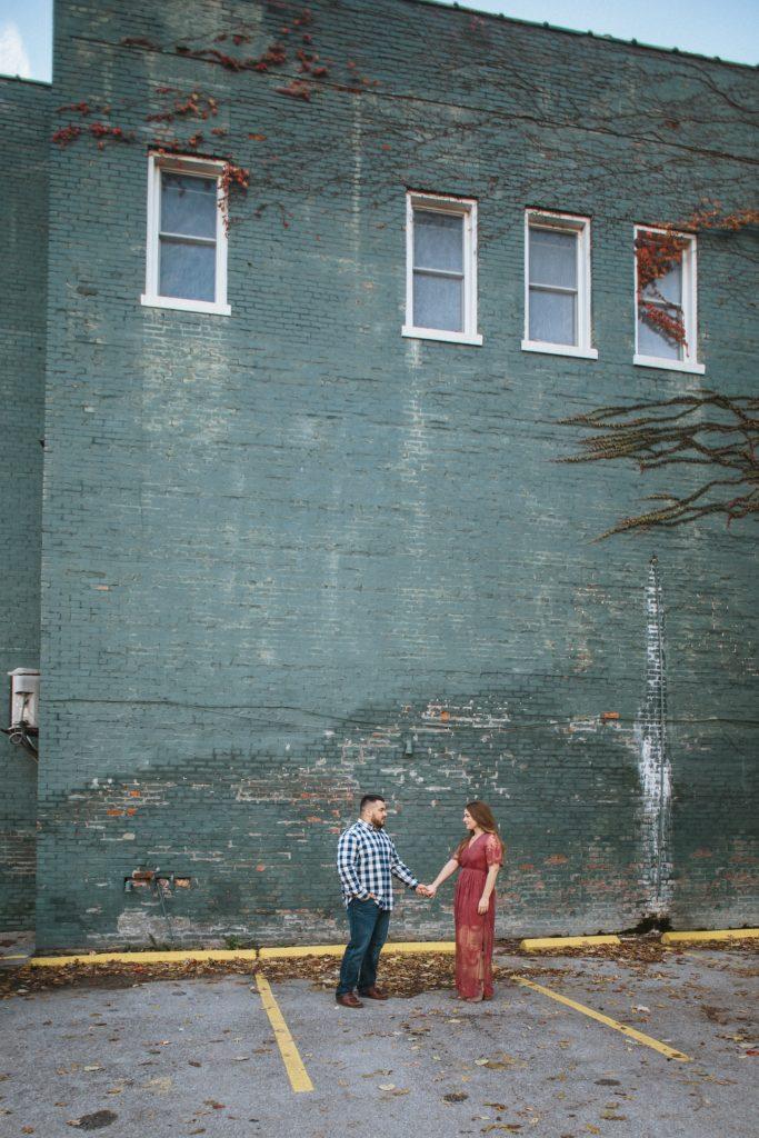 downtown lexington engagement photo