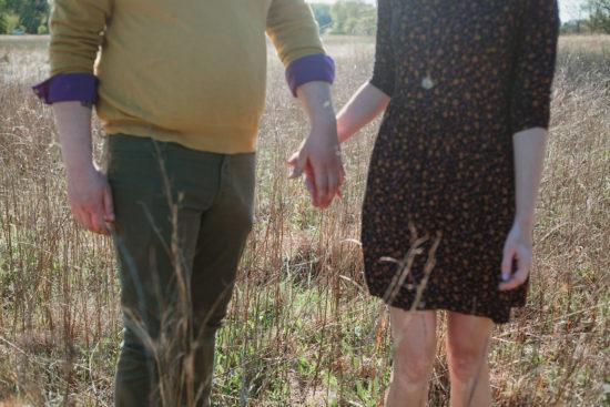 bernheim forest engagement holding hands