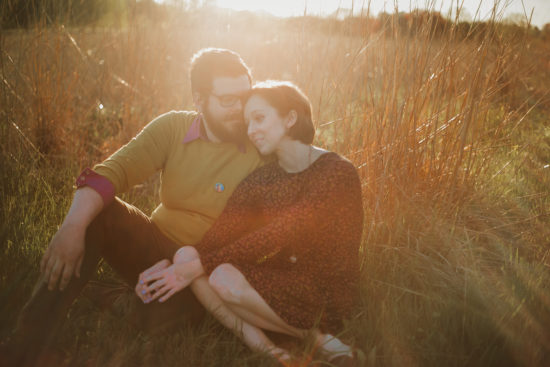couple at sunset bernheim forest