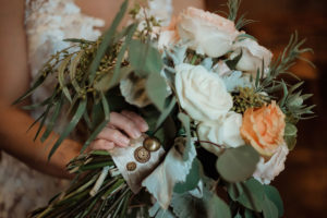 wedding bouquet with buttons