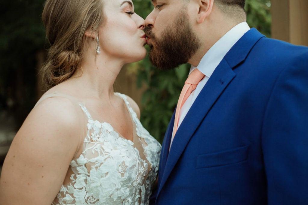 lexington distillery district wedding couple kissing
