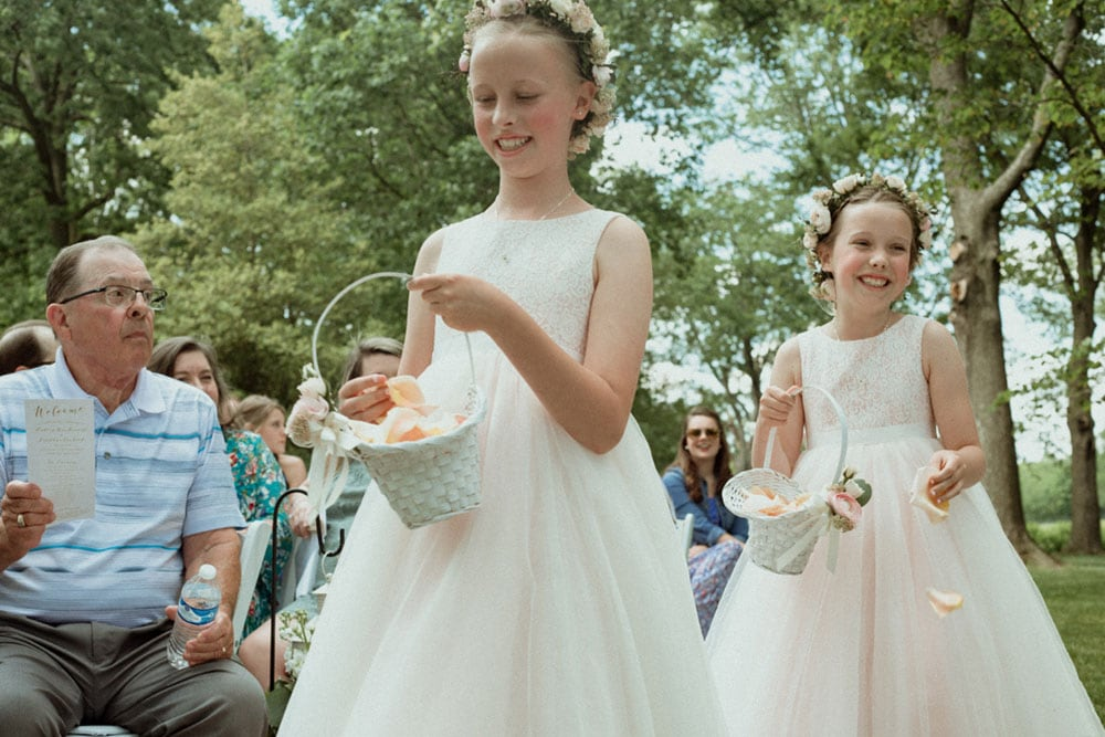 flower girls at polo barn wedding