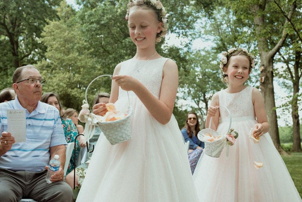 flower girls at polo barn wedding