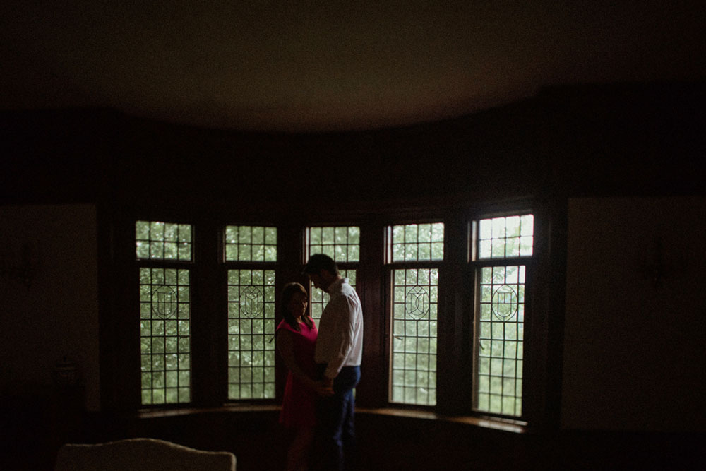 couple silhouette engagement photo