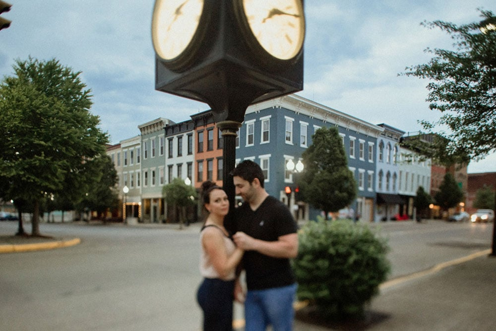 downtown portsmouth clock couple engagement