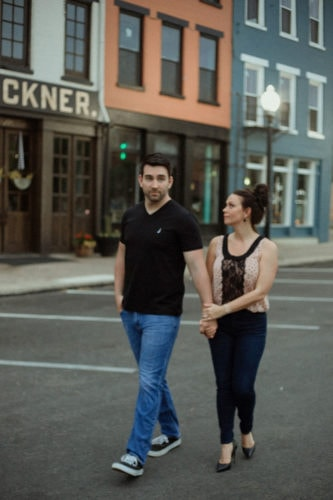 couple walking downtown portsmouth