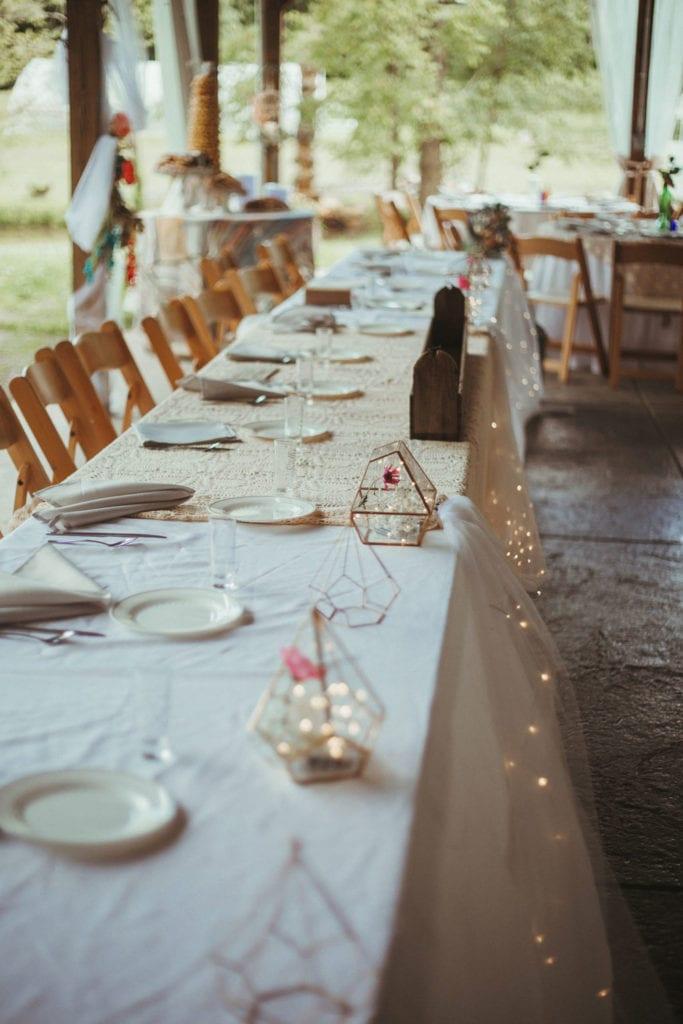 wedding table decorations at terrapin hill farm