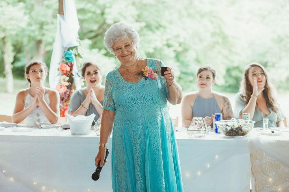 grandma giving a toast