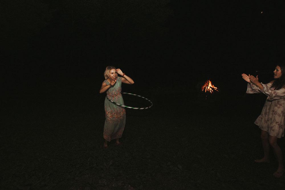hula hooping at wedding reception