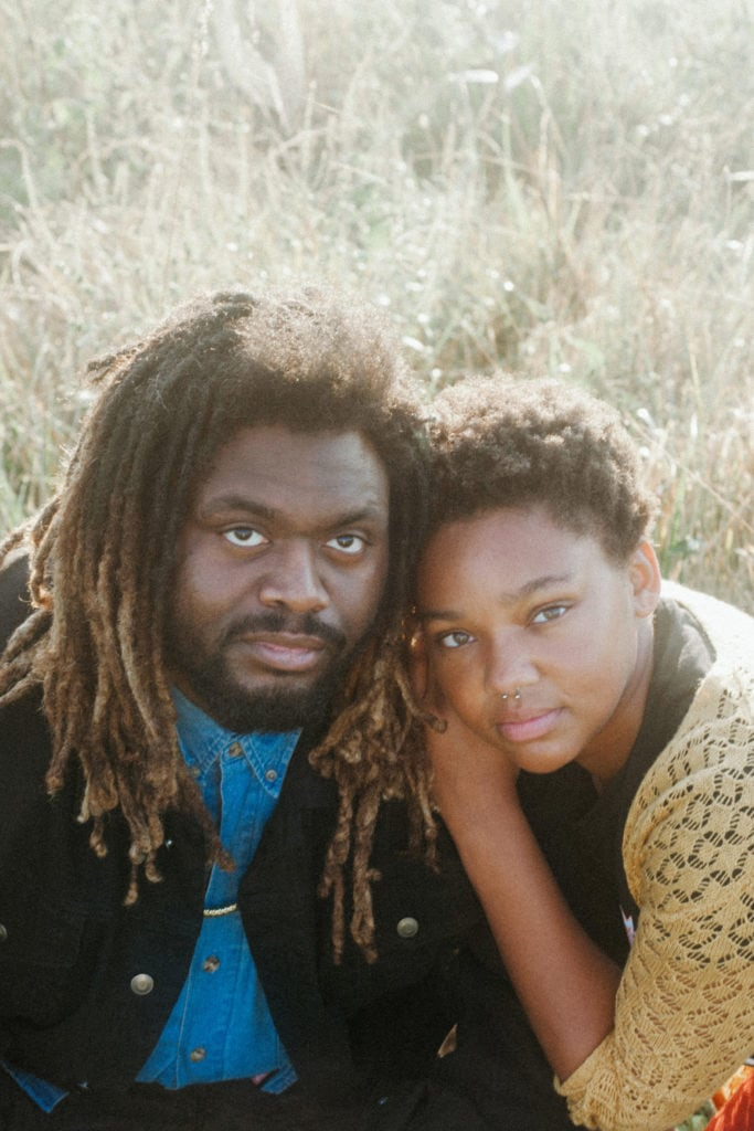 couple looking at camera at hisle farm park