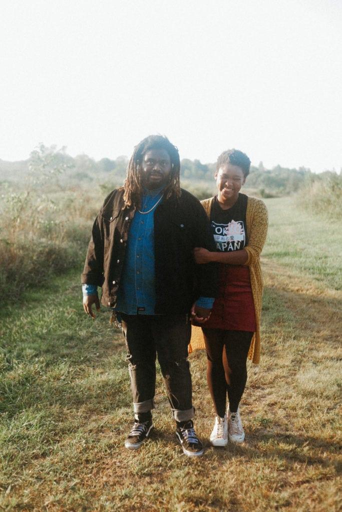couple standing at hisle farm park