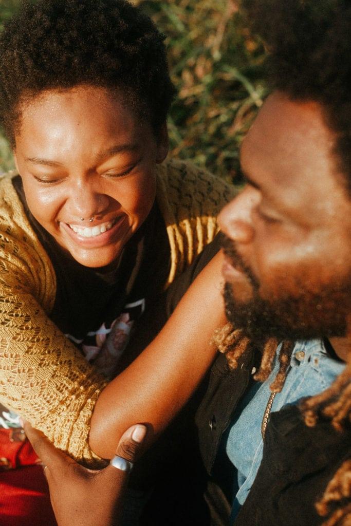 couple laughing at hisle farm park