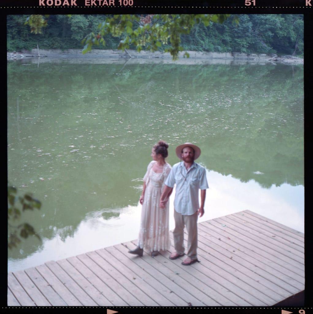 120mm film portrait couple on dock