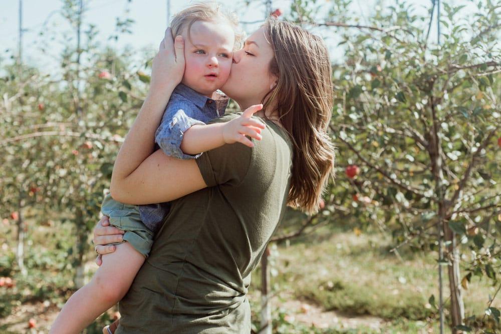 mama and baby at evan orchard