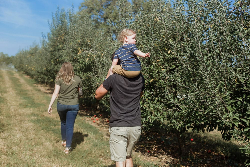 family walking at evan's orchard