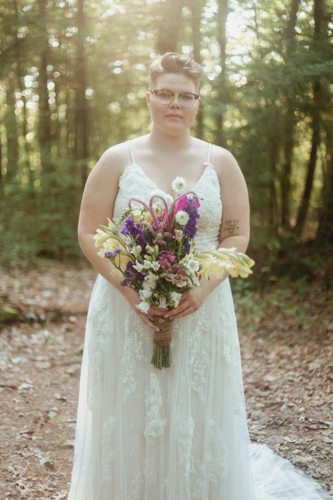 queer wedding bridal portrait