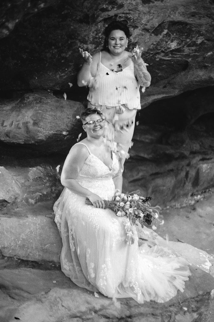 brides and flower petals