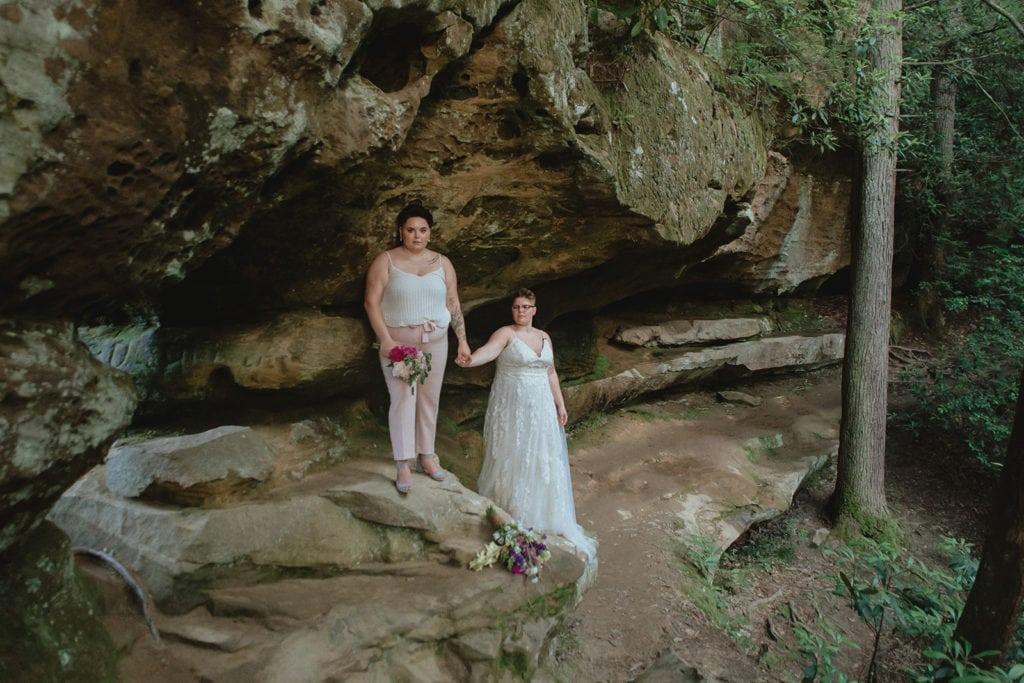 queer elopement wedding couple portrait