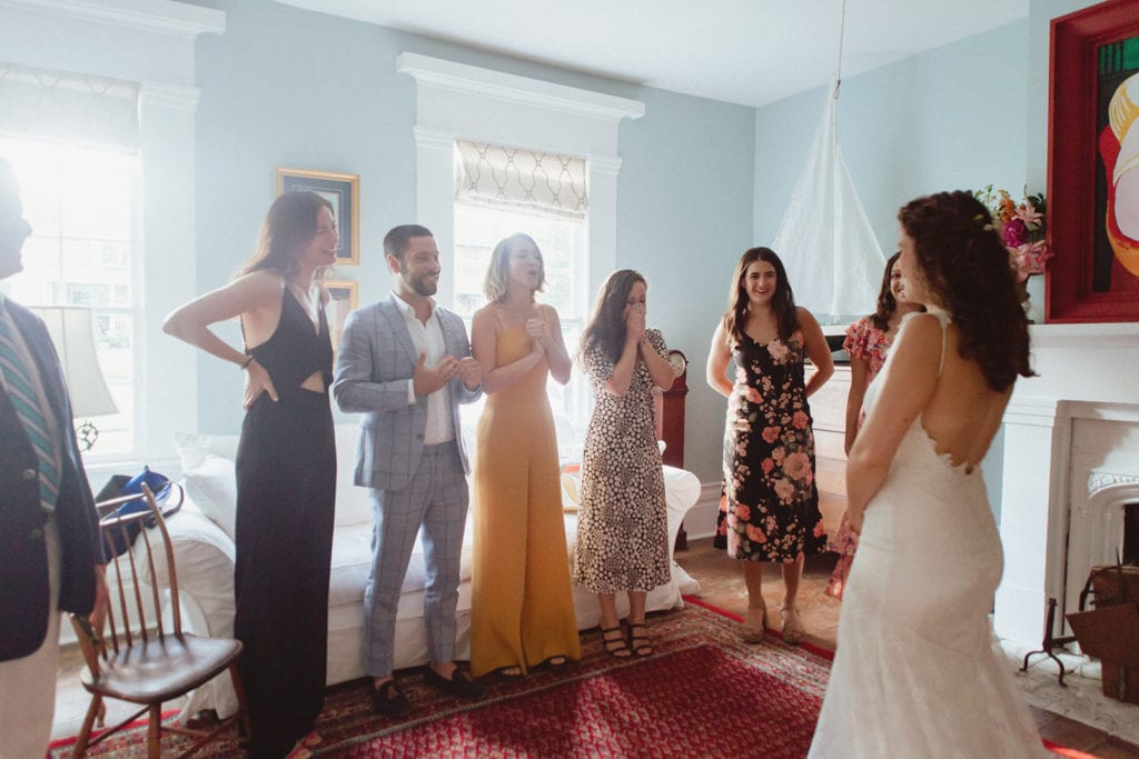 bride getting ready with friends