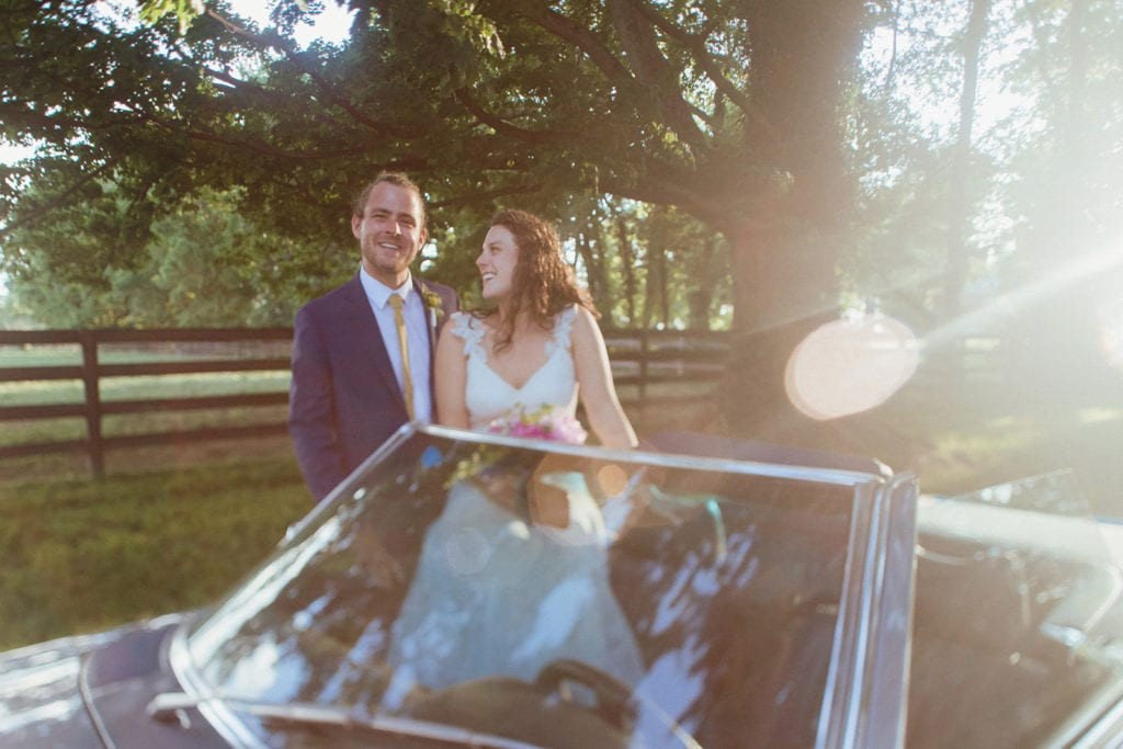 wedding portrait with classic car