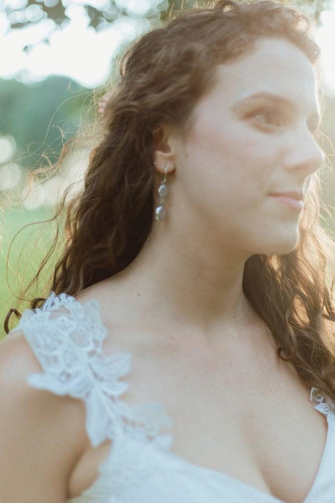 bride earring detail by devon gray