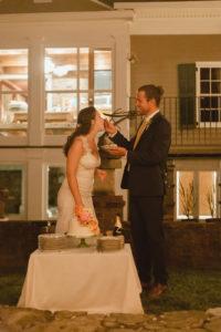 midway ky backyard wedding cake cutting