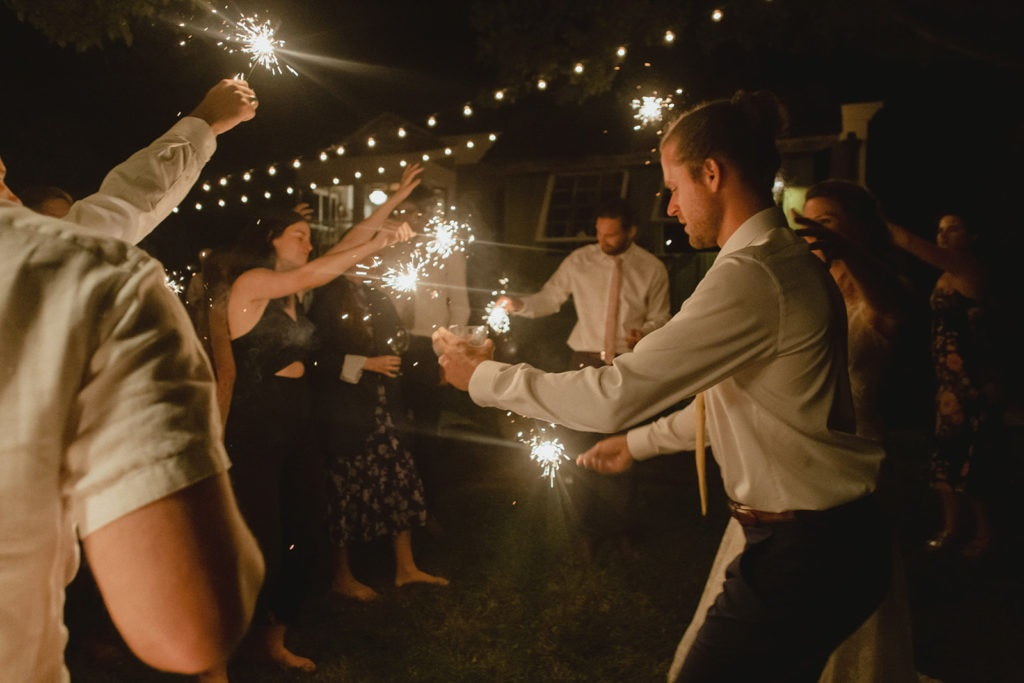 wedding reception dancing with sparklers