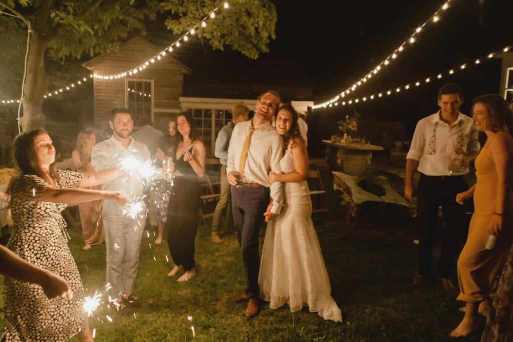 wedding reception sparklers