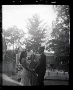 wedding ceremony on 120 black and white film