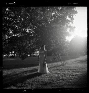 bride portrait black and white film