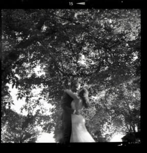 wedding portrait on black and white film